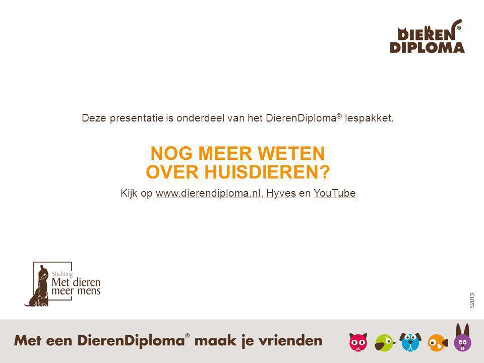 OVER HUISDIEREN Kijk op www.dierendiploma.nl, Hyves en YouTube