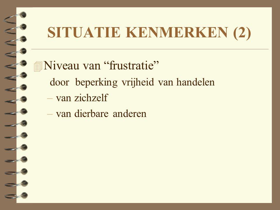 SITUATIE KENMERKEN (2) Niveau van frustratie