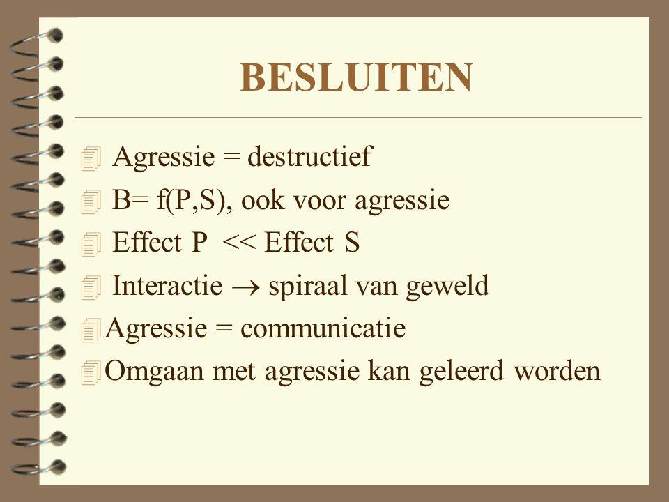 BESLUITEN Agressie = destructief B= f(P,S), ook voor agressie