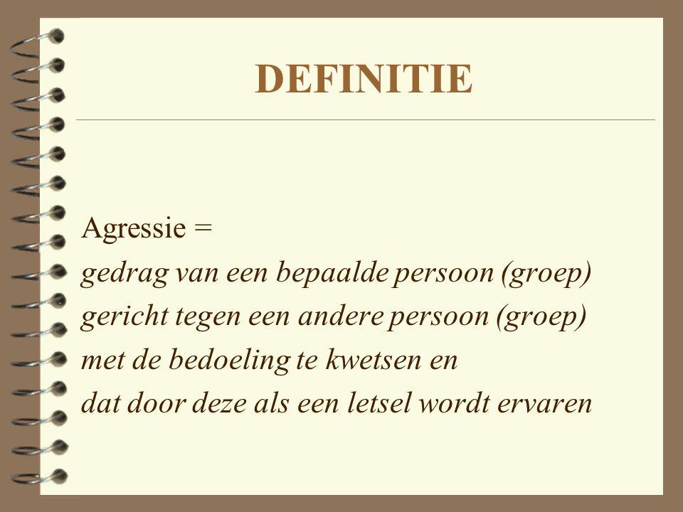 DEFINITIE Agressie = gedrag van een bepaalde persoon (groep)