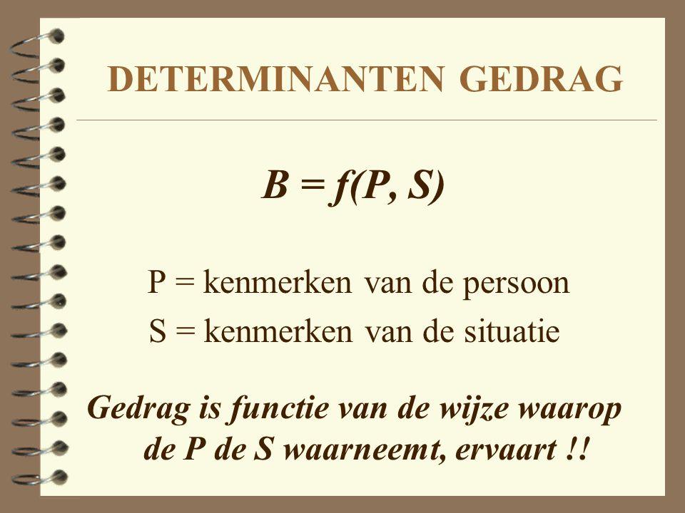 Gedrag is functie van de wijze waarop de P de S waarneemt, ervaart !!