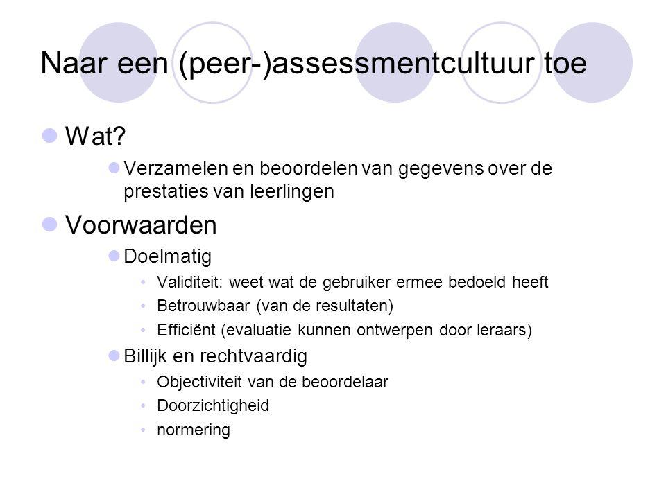 Naar een (peer-)assessmentcultuur toe