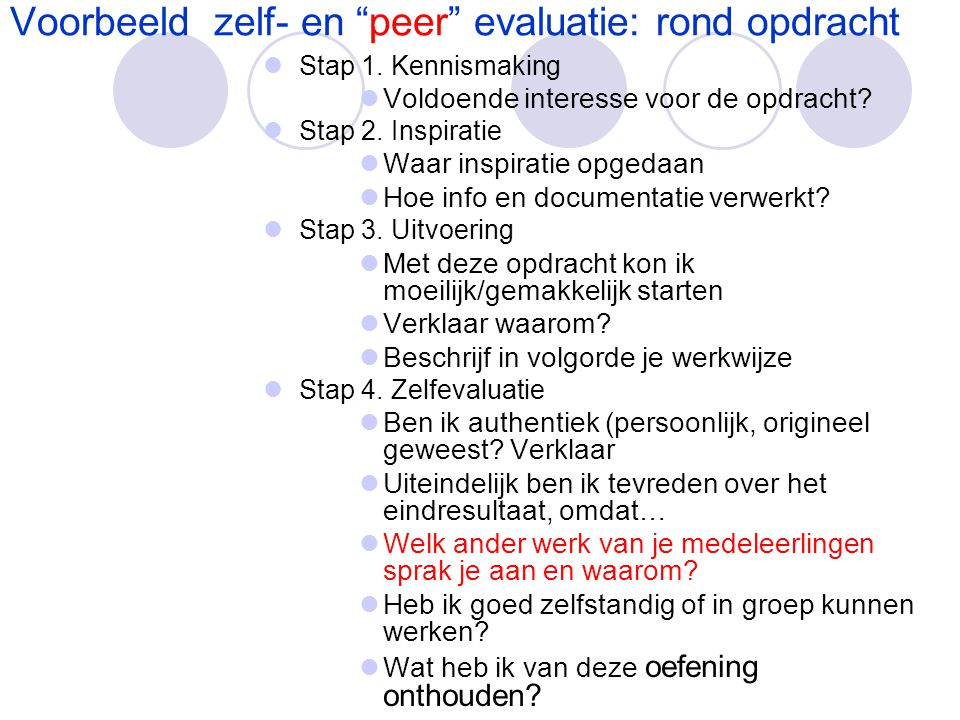 Voorbeeld zelf- en peer evaluatie: rond opdracht