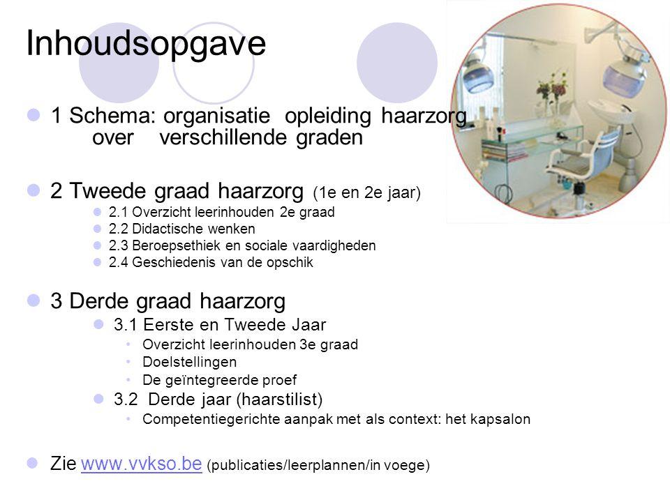 Inhoudsopgave 1 Schema: organisatie opleiding haarzorg over verschillende graden. 2 Tweede graad haarzorg (1e en 2e jaar)