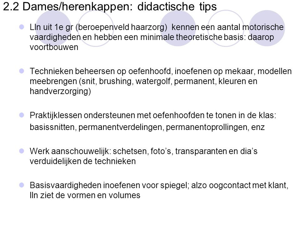 2.2 Dames/herenkappen: didactische tips