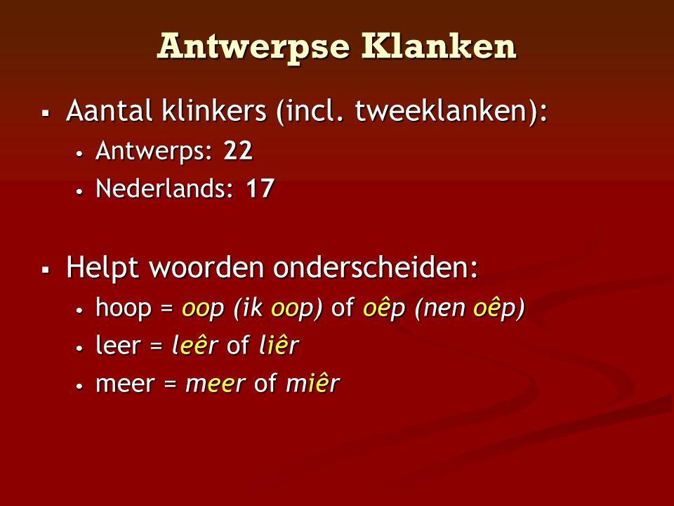 Antwerpse Klanken Aantal klinkers (incl. tweeklanken):