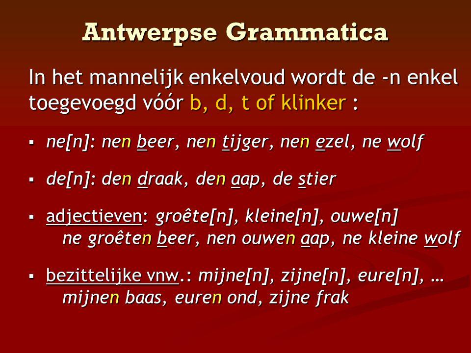 Antwerpse Grammatica In het mannelijk enkelvoud wordt de -n enkel