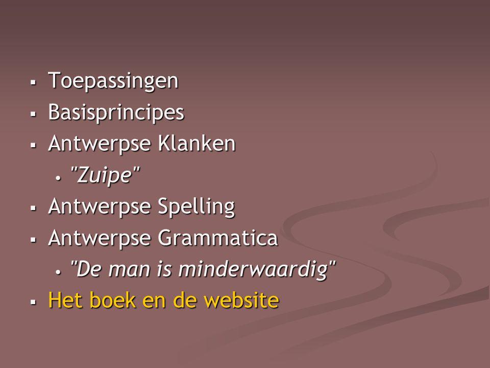 Toepassingen Basisprincipes. Antwerpse Klanken. Zuipe Antwerpse Spelling. Antwerpse Grammatica.