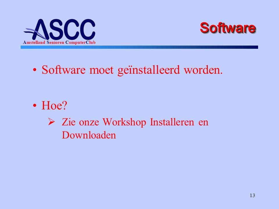 Software Software moet geïnstalleerd worden. Hoe