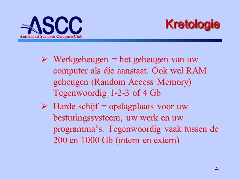 Kretologie Werkgeheugen = het geheugen van uw computer als die aanstaat. Ook wel RAM geheugen (Random Access Memory) Tegenwoordig 1-2-3 of 4 Gb.