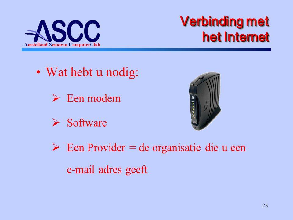 Verbinding met het Internet