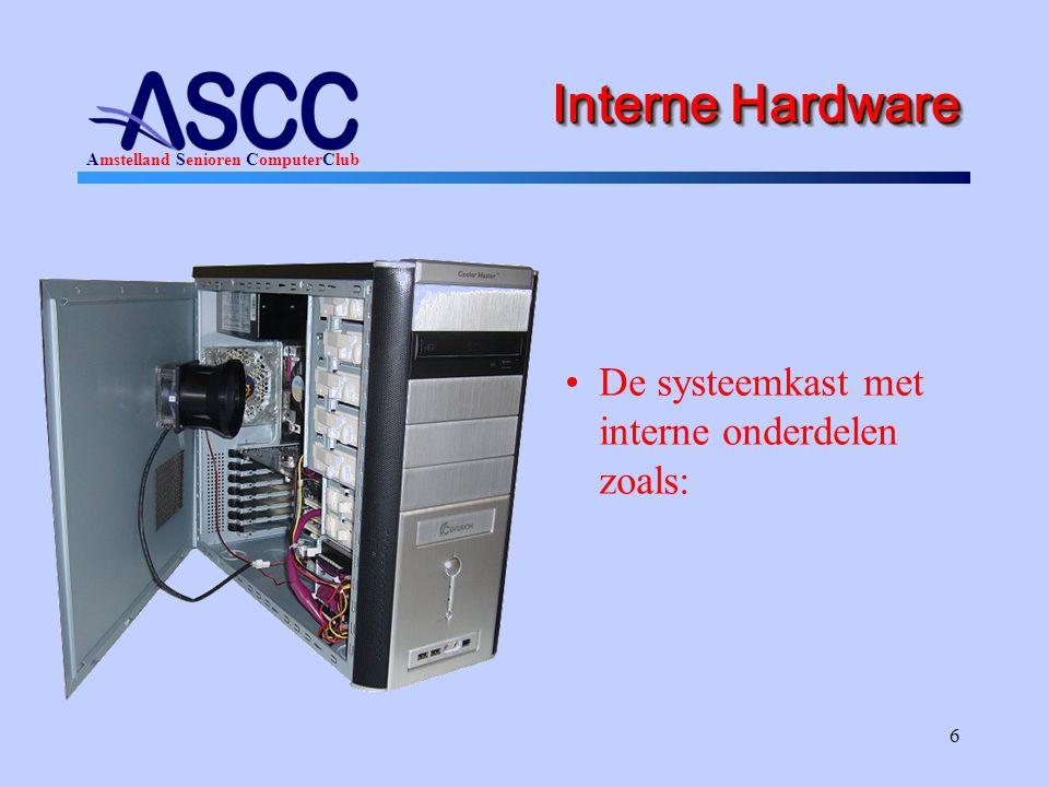 Interne Hardware De systeemkast met interne onderdelen zoals: