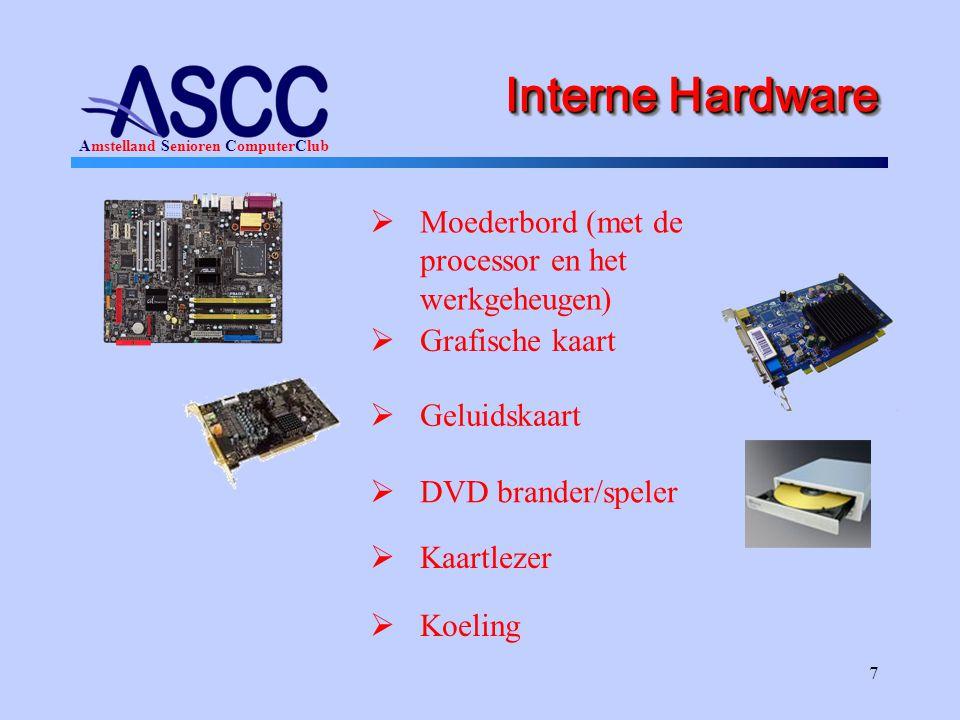 Interne Hardware Moederbord (met de processor en het werkgeheugen)