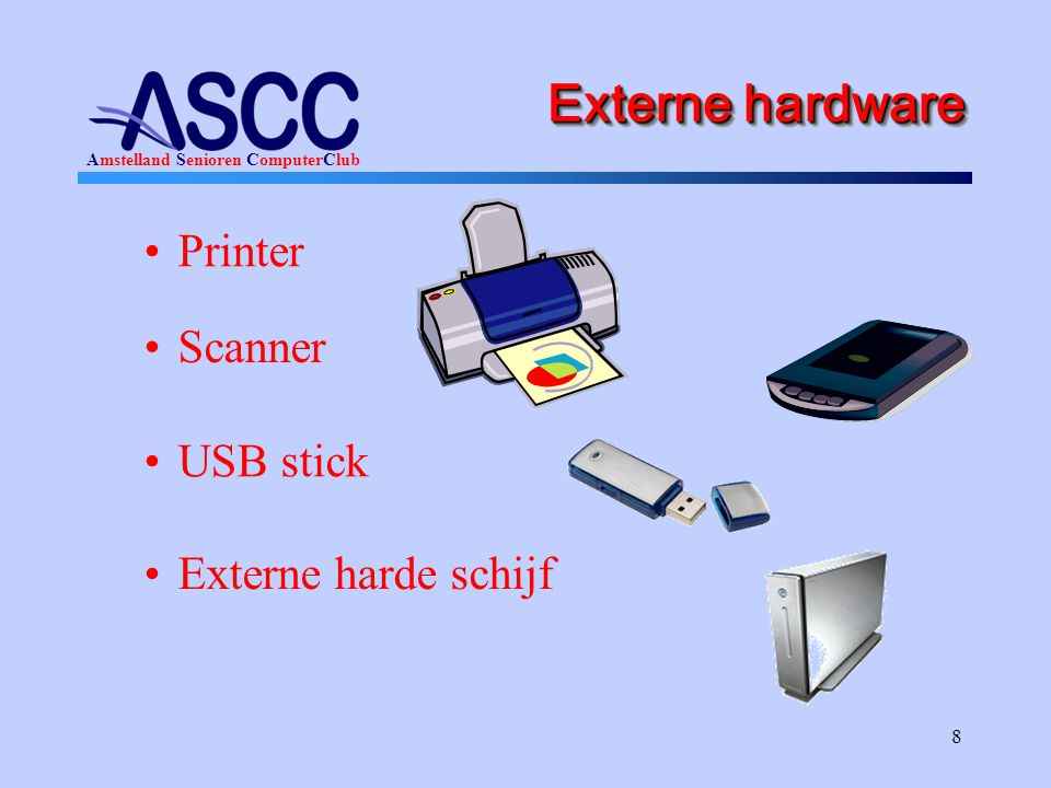 Externe hardware Printer Scanner USB stick Externe harde schijf