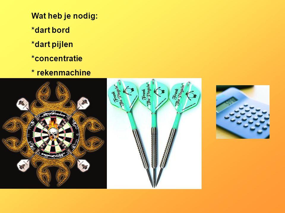 Wat heb je nodig: *dart bord *dart pijlen *concentratie * rekenmachine