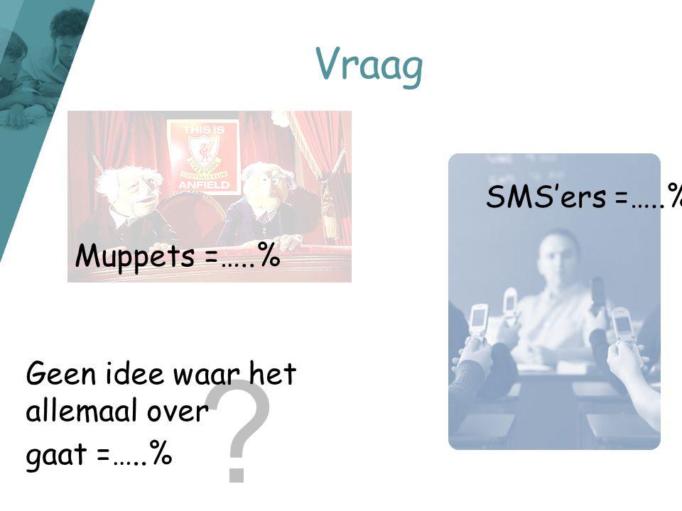 Vraag SMS'ers =…..% Muppets =…..% Geen idee waar het allemaal over