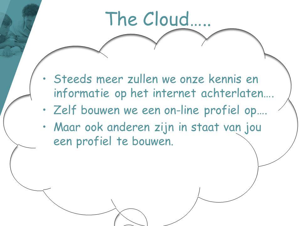 The Cloud….. Steeds meer zullen we onze kennis en informatie op het internet achterlaten…. Zelf bouwen we een on-line profiel op….