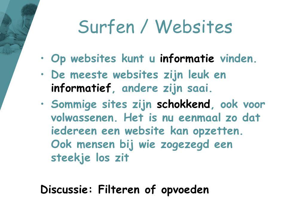 Surfen / Websites Op websites kunt u informatie vinden.