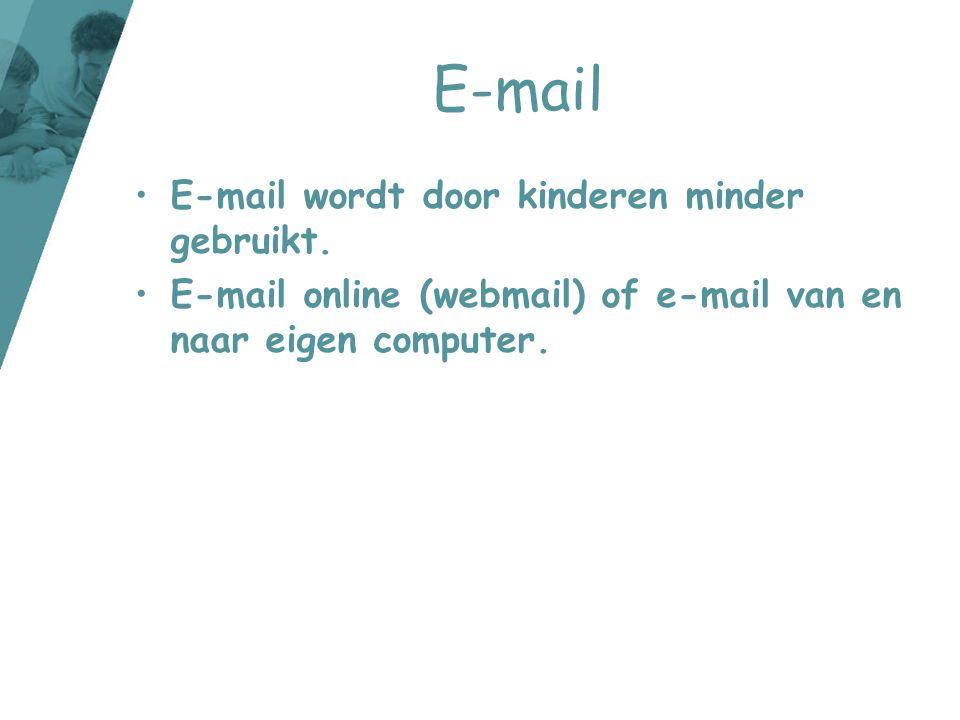 E-mail E-mail wordt door kinderen minder gebruikt.