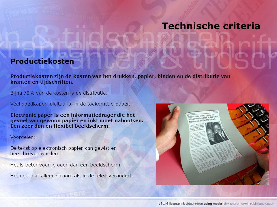 Technische criteria Productiekosten