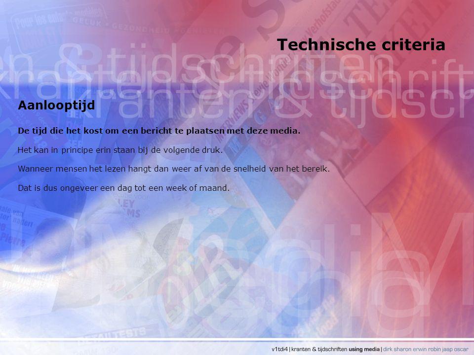 Technische criteria Aanlooptijd