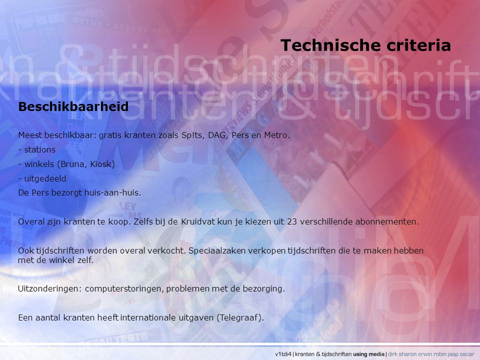 Technische criteria Beschikbaarheid