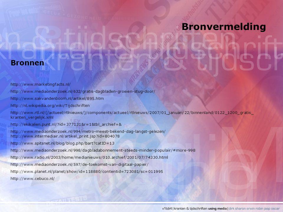 Bronvermelding Bronnen http://www.marketingfacts.nl/