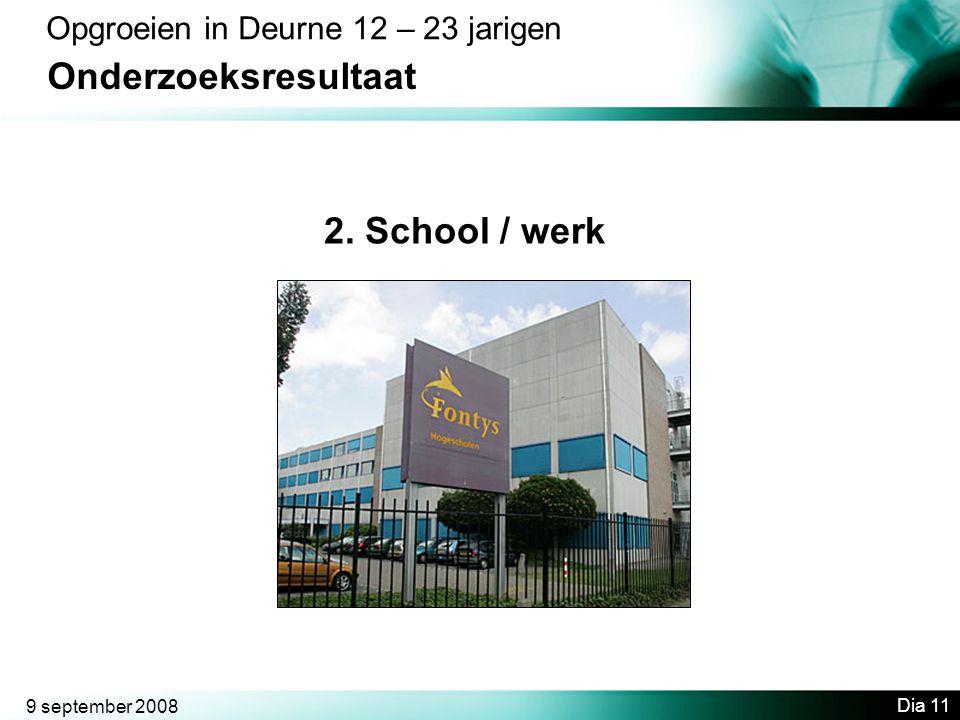 Onderzoeksresultaat 2. School / werk