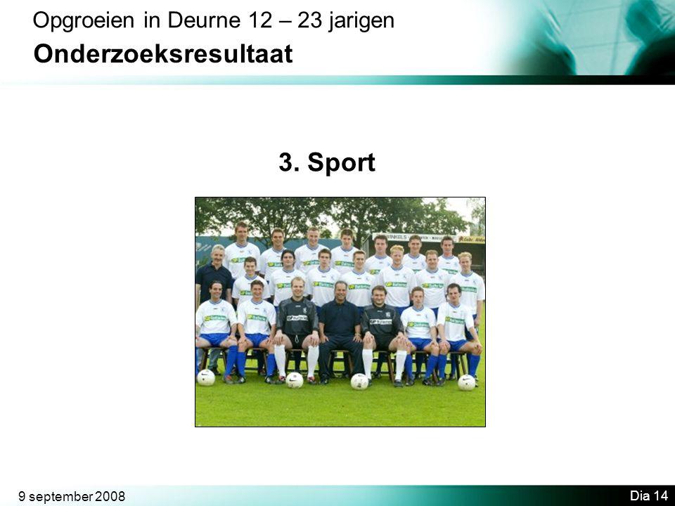 Onderzoeksresultaat 3. Sport Opgroeien in Deurne 12 – 23 jarigen