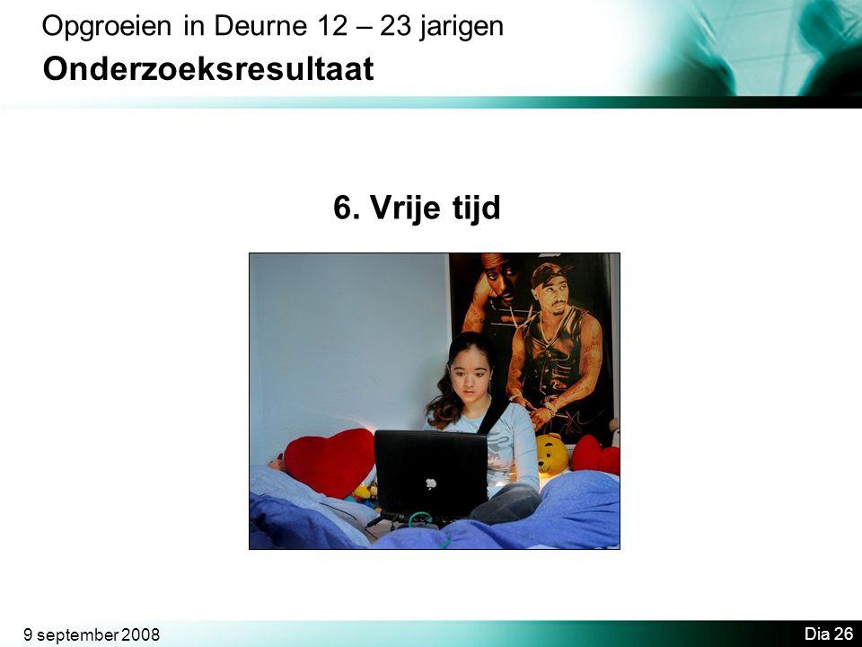 Onderzoeksresultaat 6. Vrije tijd Opgroeien in Deurne 12 – 23 jarigen