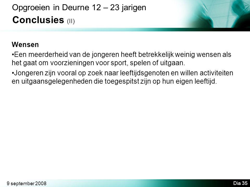 Conclusies (II) Opgroeien in Deurne 12 – 23 jarigen Wensen