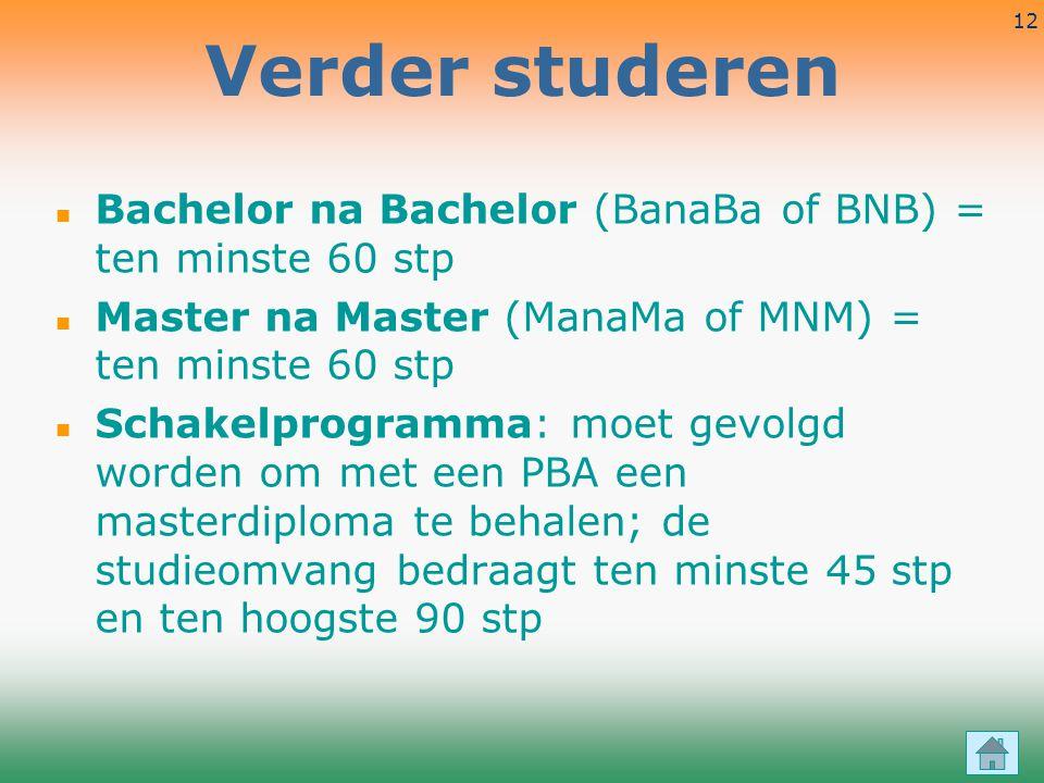 Verder studeren Bachelor na Bachelor (BanaBa of BNB) = ten minste 60 stp. Master na Master (ManaMa of MNM) = ten minste 60 stp.