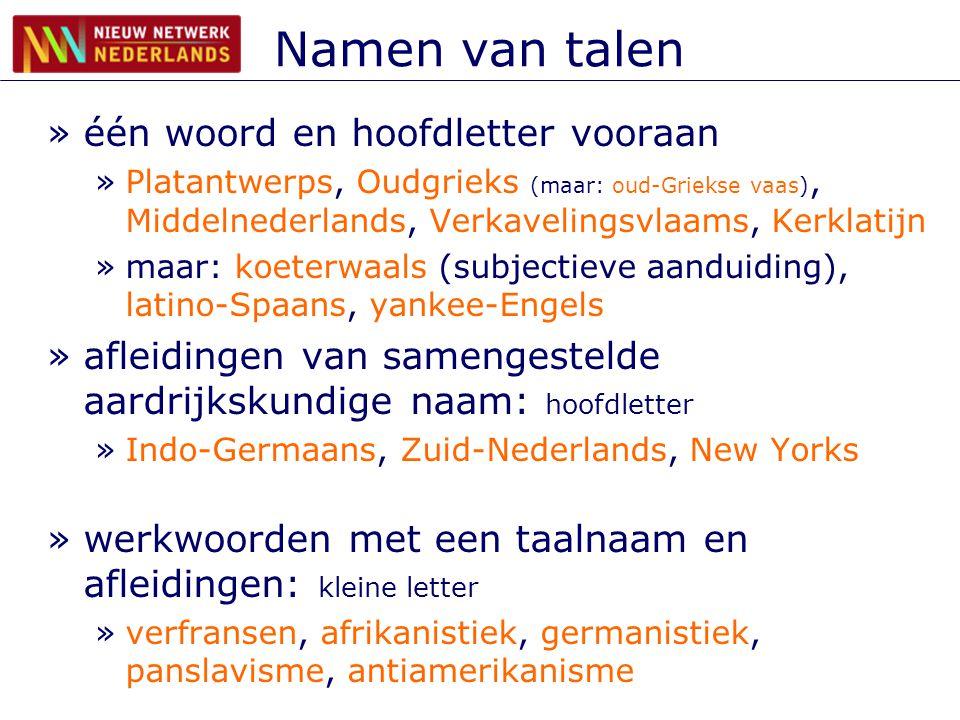 Namen van talen één woord en hoofdletter vooraan
