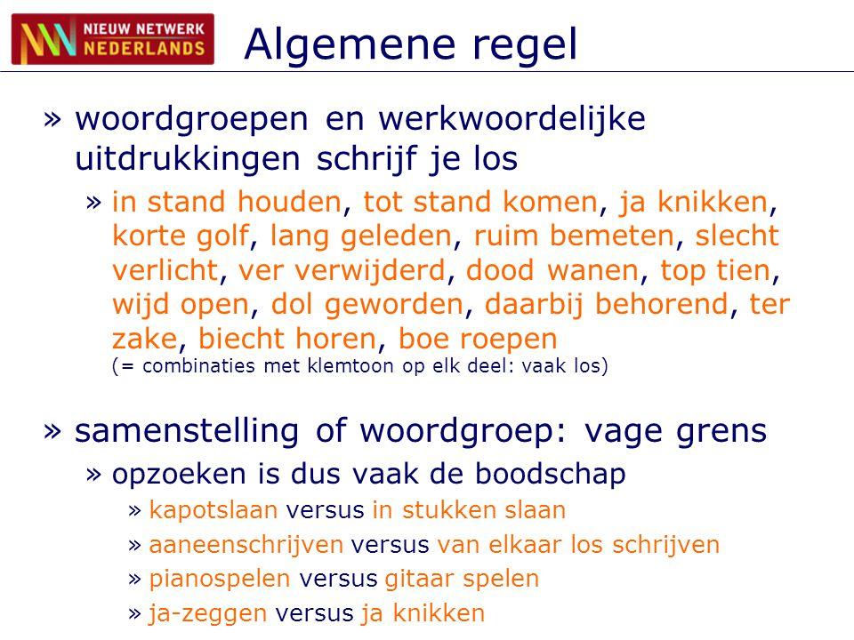 Algemene regel woordgroepen en werkwoordelijke uitdrukkingen schrijf je los.