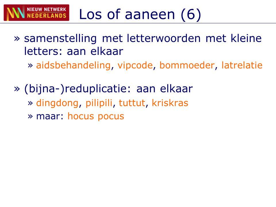 Los of aaneen (6) samenstelling met letterwoorden met kleine letters: aan elkaar. aidsbehandeling, vipcode, bommoeder, latrelatie.