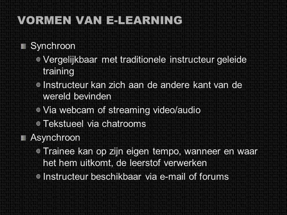 VORMEN VAN E-LEARNING Synchroon