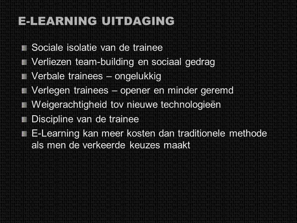 E-LEARNING UITDAGING Sociale isolatie van de trainee