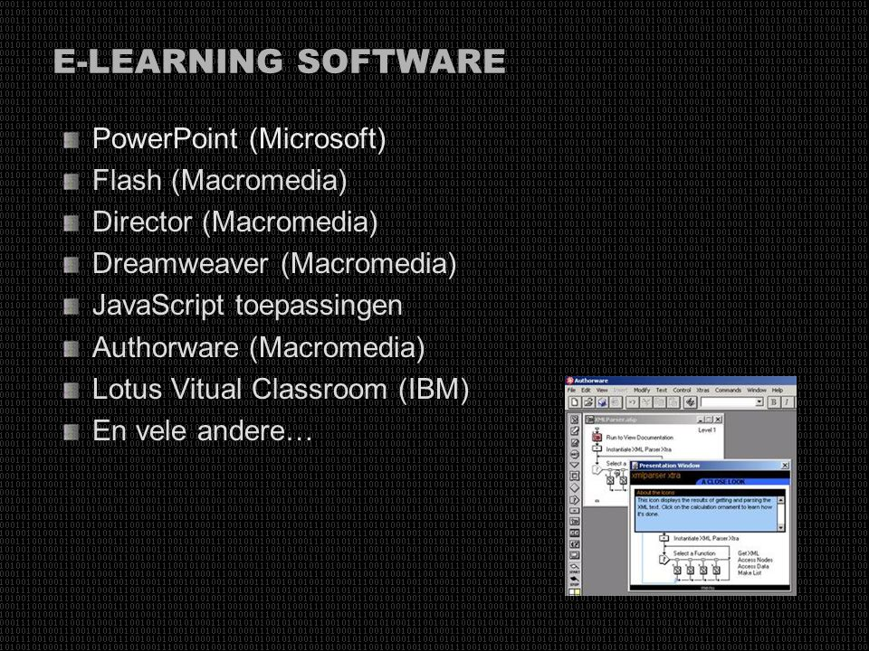 E-LEARNING SOFTWARE PowerPoint (Microsoft) Flash (Macromedia)