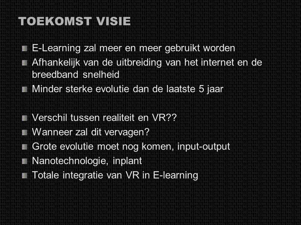 TOEKOMST VISIE E-Learning zal meer en meer gebruikt worden