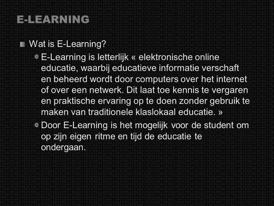 E-LEARNING Wat is E-Learning