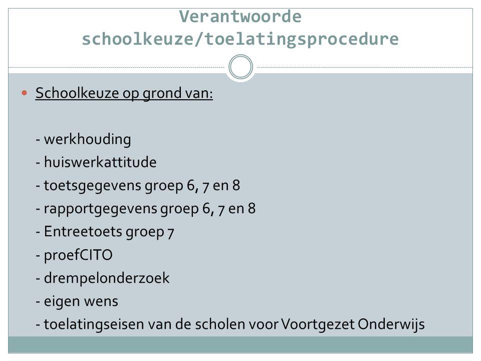 Verantwoorde schoolkeuze/toelatingsprocedure