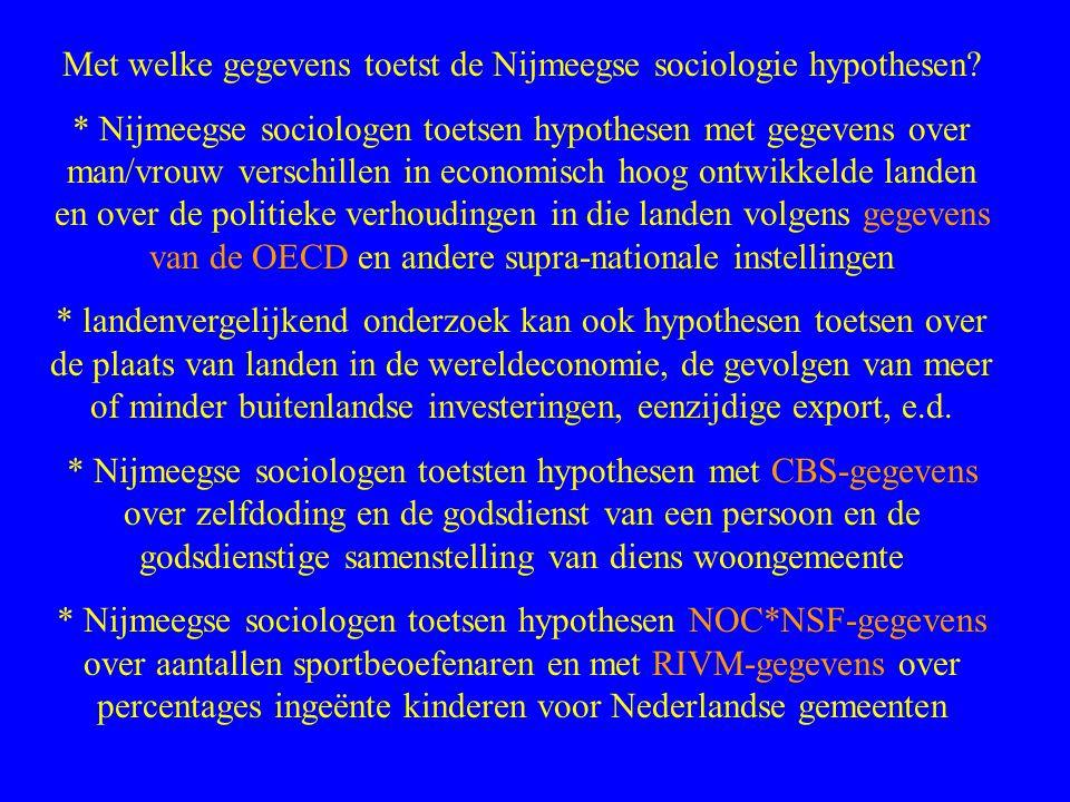 Met welke gegevens toetst de Nijmeegse sociologie hypothesen