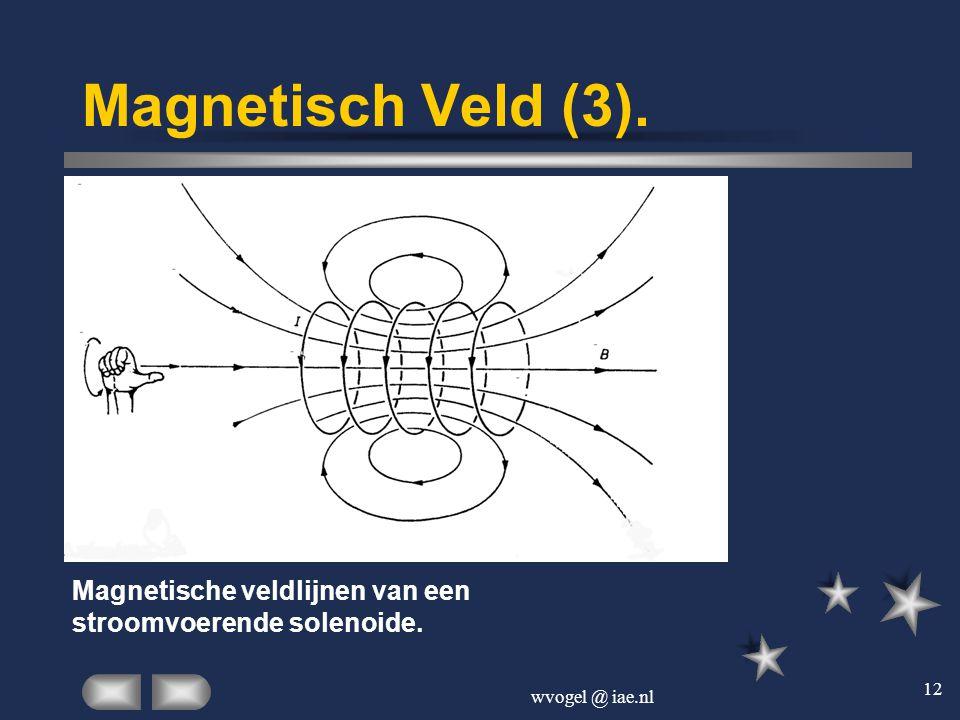 Magnetisch Veld (3). Magnetische veldlijnen van een stroomvoerende solenoide. wvogel @ iae.nl