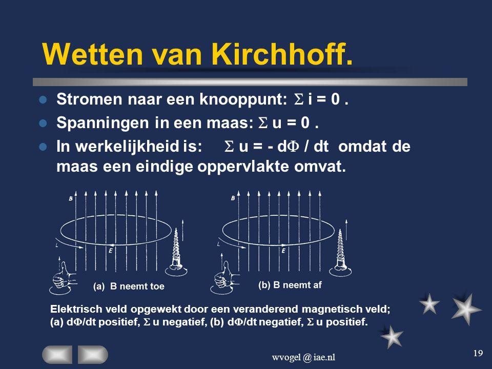 Wetten van Kirchhoff. Stromen naar een knooppunt: S i = 0 .