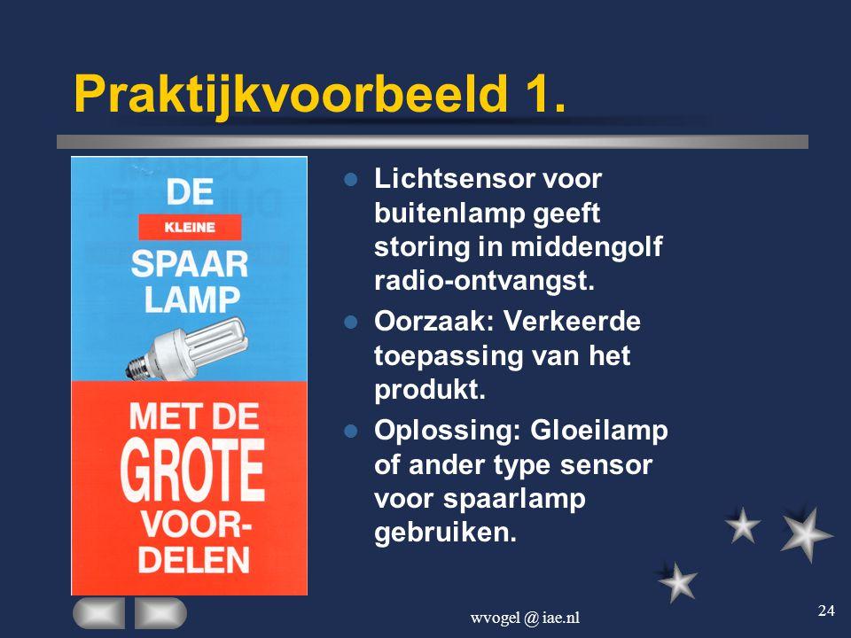 Praktijkvoorbeeld 1. Lichtsensor voor buitenlamp geeft storing in middengolf radio-ontvangst. Oorzaak: Verkeerde toepassing van het produkt.