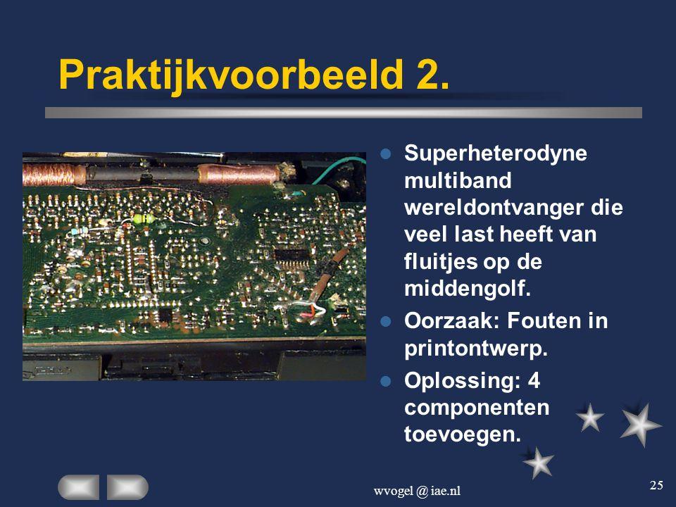 Praktijkvoorbeeld 2. Superheterodyne multiband wereldontvanger die veel last heeft van fluitjes op de middengolf.
