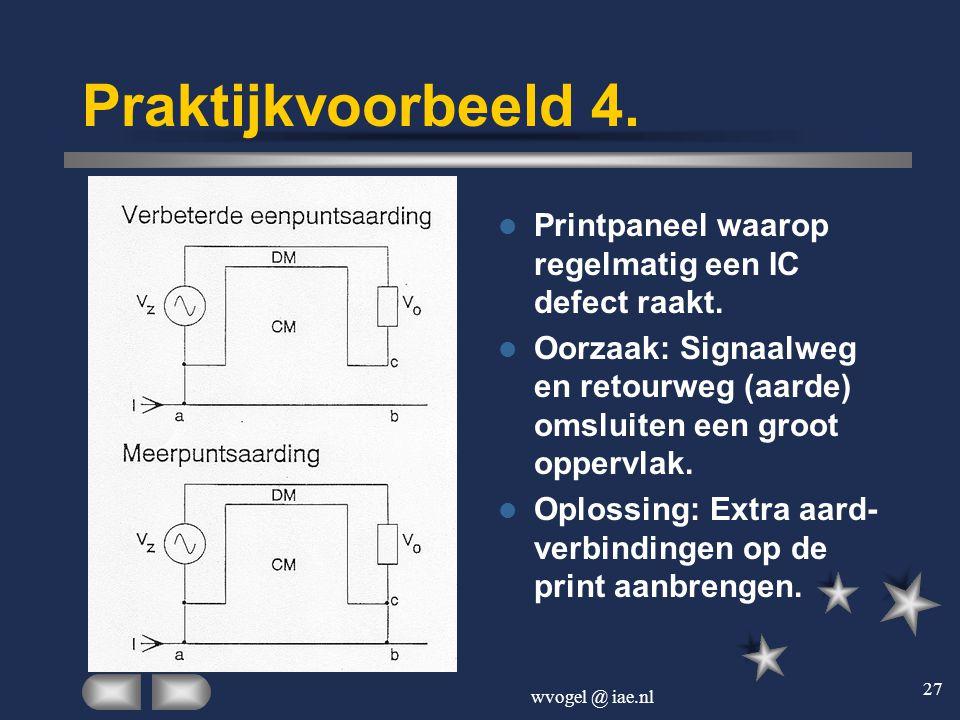 Praktijkvoorbeeld 4. Printpaneel waarop regelmatig een IC defect raakt. Oorzaak: Signaalweg en retourweg (aarde) omsluiten een groot oppervlak.