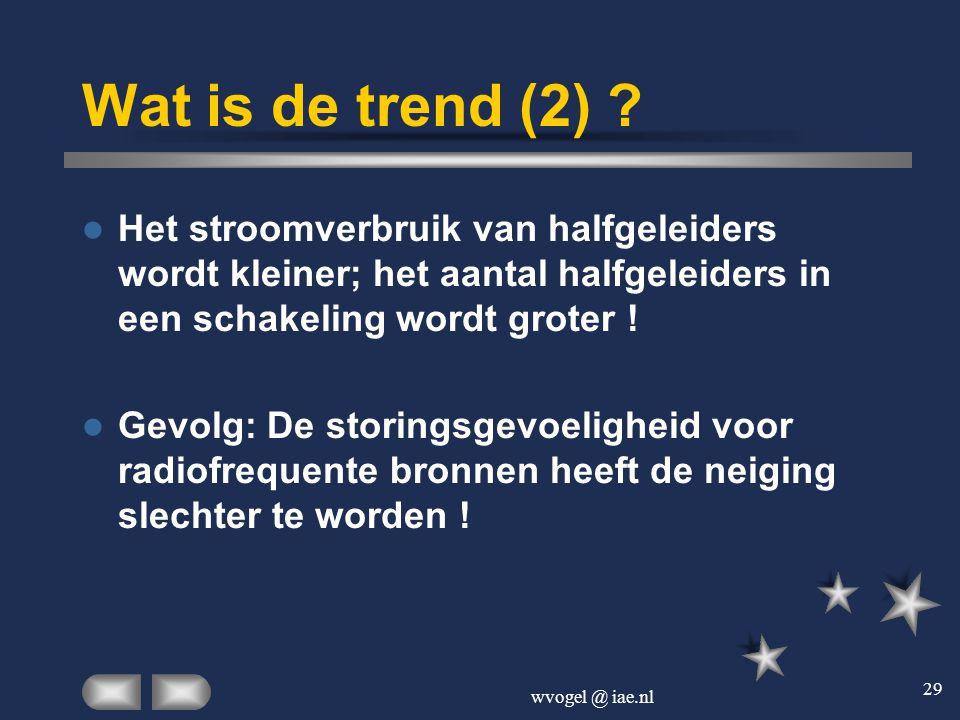 Wat is de trend (2) Het stroomverbruik van halfgeleiders wordt kleiner; het aantal halfgeleiders in een schakeling wordt groter !