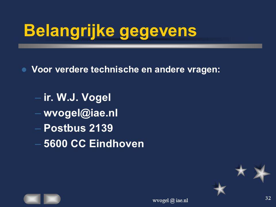 Belangrijke gegevens ir. W.J. Vogel wvogel@iae.nl Postbus 2139