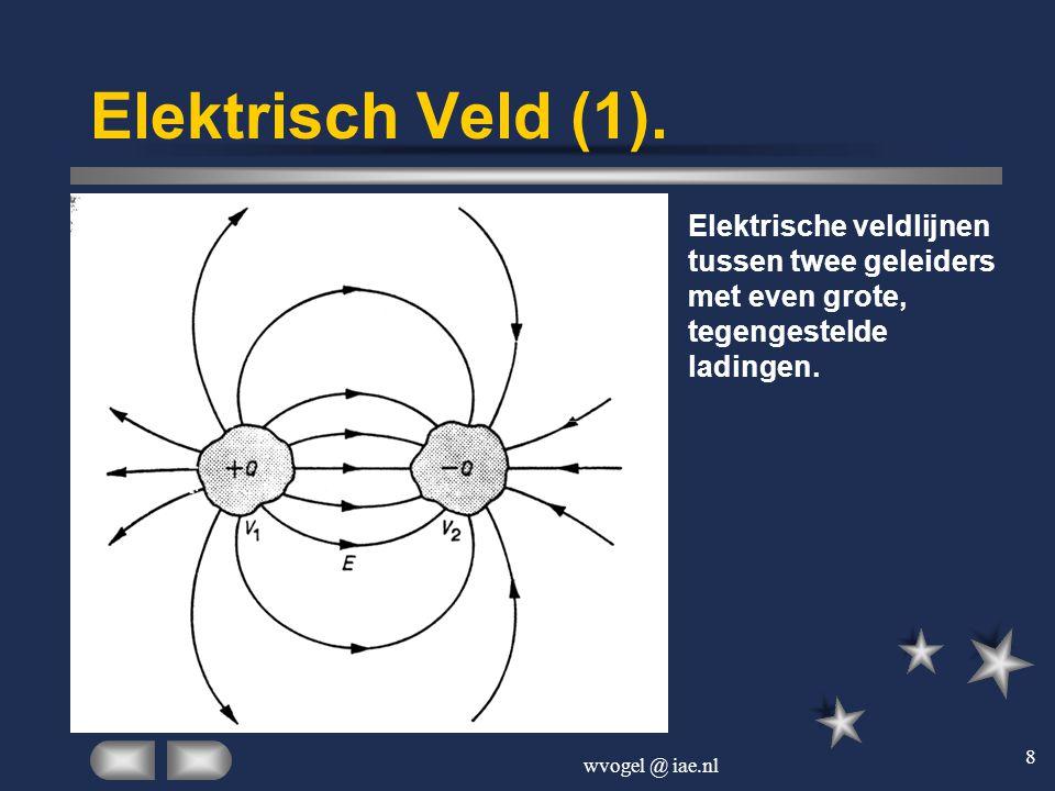 Elektrisch Veld (1). Elektrische veldlijnen tussen twee geleiders met even grote, tegengestelde ladingen.